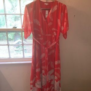 New York & Co red maxi wrap dress with tie